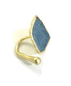 anello in bronzo e pelle blu opus4 02