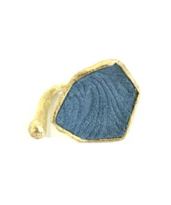 anello in bronzo e pelle blu opus4