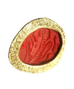 anello in bronzo e pelle rossa opus4