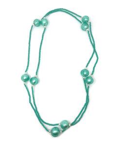 collana in vetro verde e perle di fiume 02