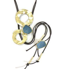 collana in bronzo e pelle blu opus4