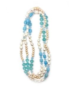 collana perle bianche rosa pietre azzurre 01