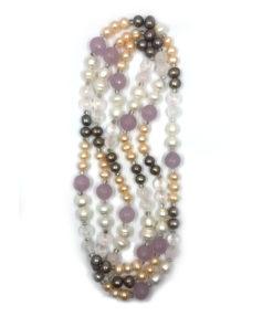 collana perle mix multicolor rosa grigia 01