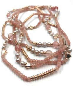 collana quarzo rosa perle ematite vetro 02