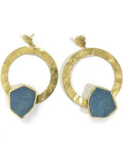 orecchini in bronzo e pelle blu opus4