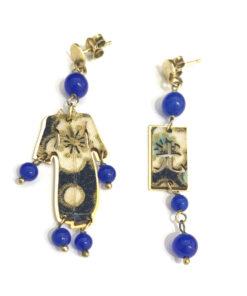 orecchini kimono mini argento 925 pietra blu lebole gioielli