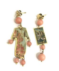 orecchini kimono mini argento 925 pietra rosa sfaccettata lebole gioielli