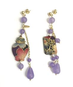 orecchini potiche vaso ciuffo piccolo pietra viola chiaro lebole gioielli